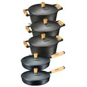 Jogo 3 Caçarolas E 2 Frigideira Ferro - Panela Mineira