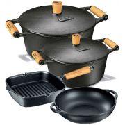 Jogo 4 Pçs 2 Caçarola 1 Parmegiana 1 Cook Grill - Panela Mineira