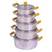 Jogo 5 Panelas Caçarolas Aluminio Polido Alça e Pomel de Madeira 16 ao 24 cm Tampa de Vidro