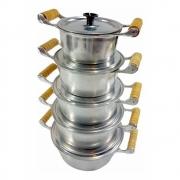 Jogo 5 Panelas Caçarolas Alumínio Polido Alça De Madeia Pomel Baquelite 16, 18, 20, 22, 24 cm