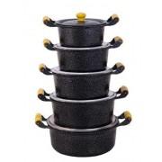 Jogo 7 Caçarolas, Frigideira e Canecão 2L Aluminio Craqueado
