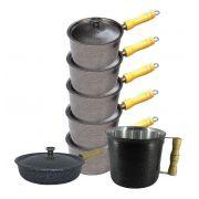 Jogo Caçarolas, Frigideira e Canecão Aluminio Craqueado