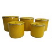 Jogo Latas Mantimento Alimentos Aluminio Amarelo 5 Peças