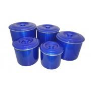 Jogo Latas Mantimento Alimentos Aluminio Azul 5 Peças