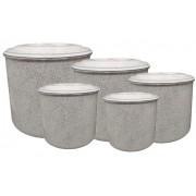 Jogo Latas Mantimento Alimentos Aluminio Branco 5 Peças