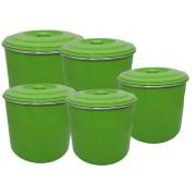 Jogo Latas Mantimento Alimentos Aluminio Verde 5 Peças