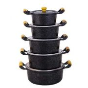 Jogo Panelas Caçarolas Alumínio Preto Alça e Pomel de Madeira do 16 ao 24 cm Tampa Fundidas