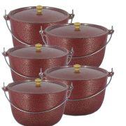 Jogo 5 Caldeirão Aluminio Vermelho com Alça Vergalhão Pomel de Madeira
