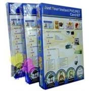 Kit Produção de Crachás - 50 Jogos Placa PVC e Folhas Imprimíveis LASER + Cortador PVC 86x54mm + Alicate Furador Ovóide