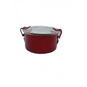 Marmita Redonda Alumínio Vermelho - 300 Ml Com Trava 10 cm