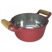 Panela Caçarola Alumínio Vermelho Alça de Madeira 26 Cm