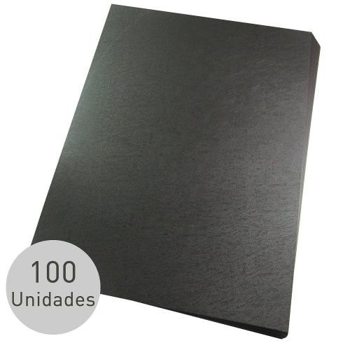 Capas Para Encadernação Preta Couro A4 Pp Line 100 Unid