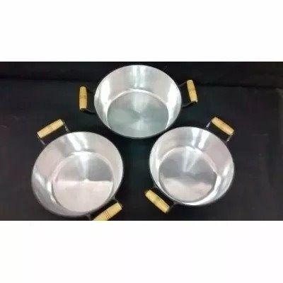 Jogo 3 Panelas Caçarolas Alumínio Preto Alça e Pomel de Madeira 26 -28 -30 cm jogão