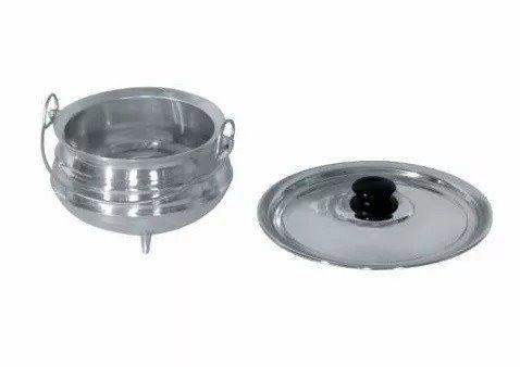 Panela Tripé Alumínio Polido 15 Cm X 11 Cm 1,4 Litros Feijao N 4
