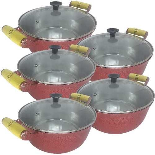 Jogo 5 Panelas Caçarolas Alumínio Vermelha Alça de Madeira Pomel Baquelite 16 ao 24 cm