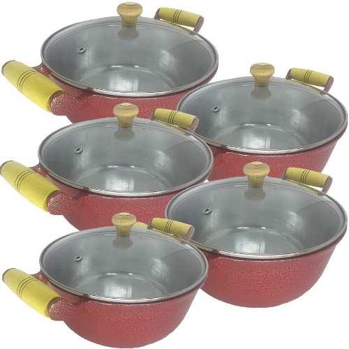 Jogo 5 Panelas Caçarolas Alumínio Vermelho Alça e Pomel Madeira 16 ao 24 cm Tampa De Vidro