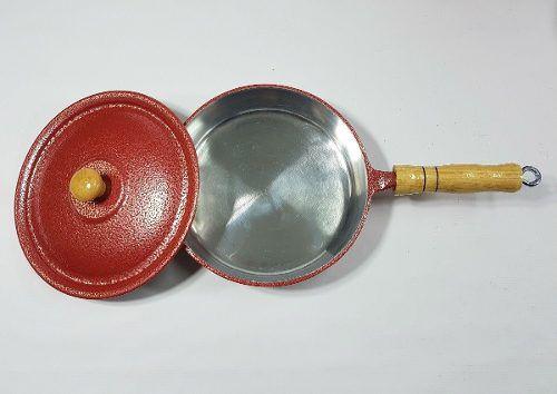 Frigideira Alumínio Vermelho Cabo e Pomel de Madeira 24 Cm