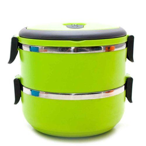 Marmita Dupla De Aço Inox Térmica Box Com 2 Compartimentos