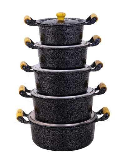Jogo 5 Panelas Caçarolas Alumínio Preto Alças e Pomel de Madeira do 16 ao 24 cm