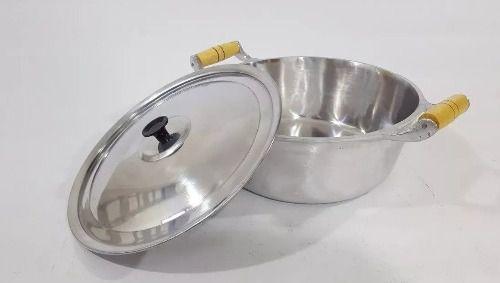 Jogo Panelas Caçarolas Alumínio Polido Alça de Madeira Pomel Baquelite 26 28 30 cm