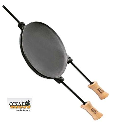 Chapa Disco De Ferro Fundido Com Cabo 35cm - Panela Mineira