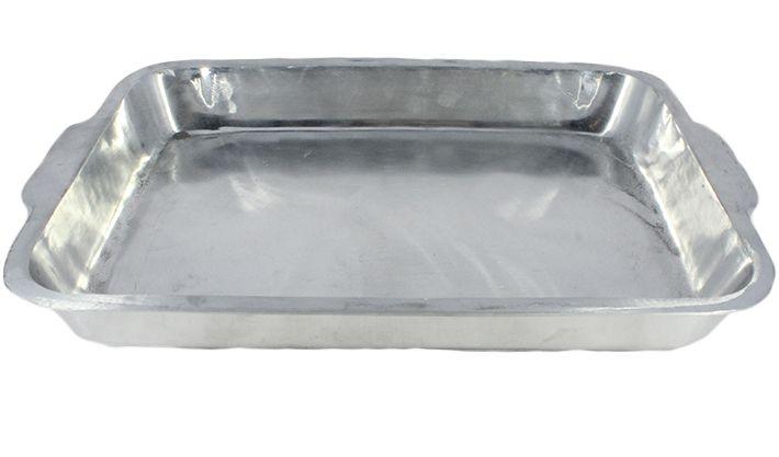 Forma Assadeira Tabuleiro Para Frango 40 cm Aluminio Polido Com Aba