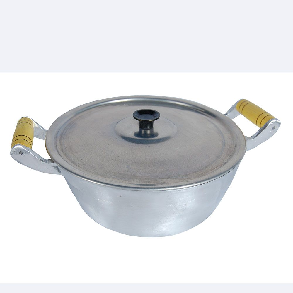 Caçarola Panela Aluminio Polido Alça Madeira Pomel de Baquelite 1,25 Litros 16 cm