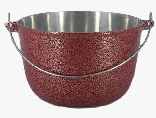 Caldeirão Aluminio Vermelho com Alça 1,1 litro 14 cm Diâmetro