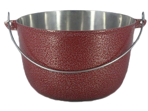 Caldeirão Aluminio Vermelho com Alça 800 ml 12 cm Diâmetro