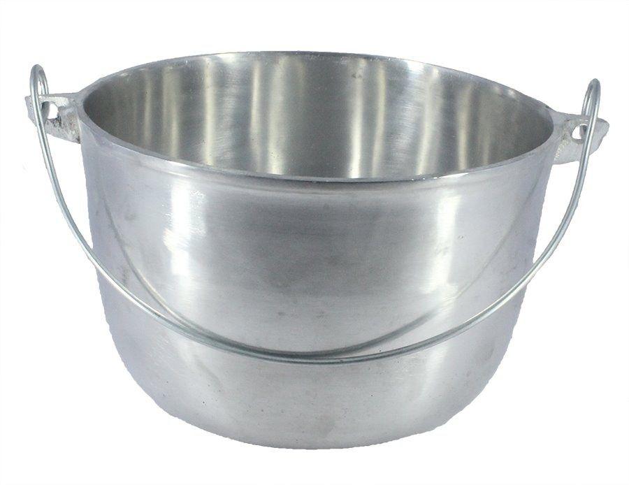 Caldeirão Aluminio Polido com Alça Vergalhão 1,1 Litro 14 cm Diâmetro