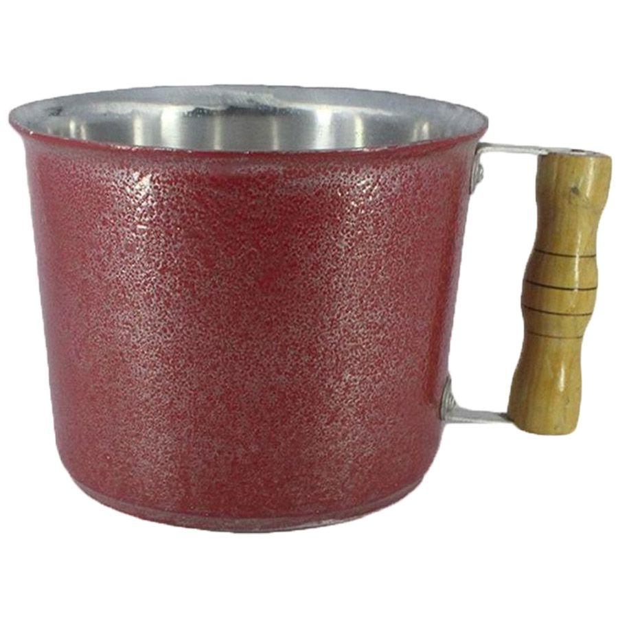 Caneca Leiteira Fervedor Canecão Alumínio Vermelho 15 cm Diâmetro 1 Litro