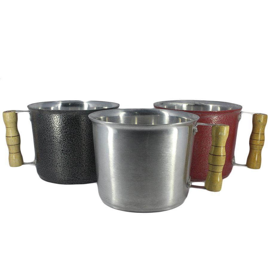 Caneca Leiteira Fervedor de Alumínio Batido Craqueado Preto 1 Litro