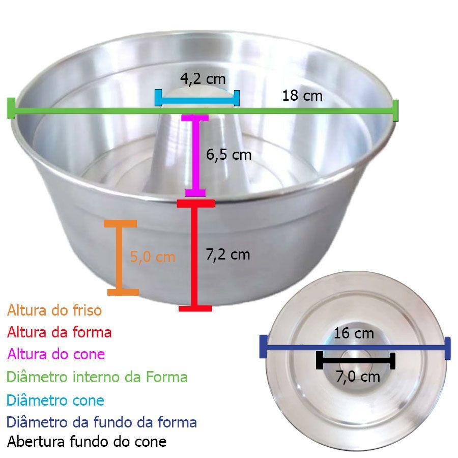 Forma de Pudim Bolo Alumínio Para Padaria Com Cone - Número 18 Cm
