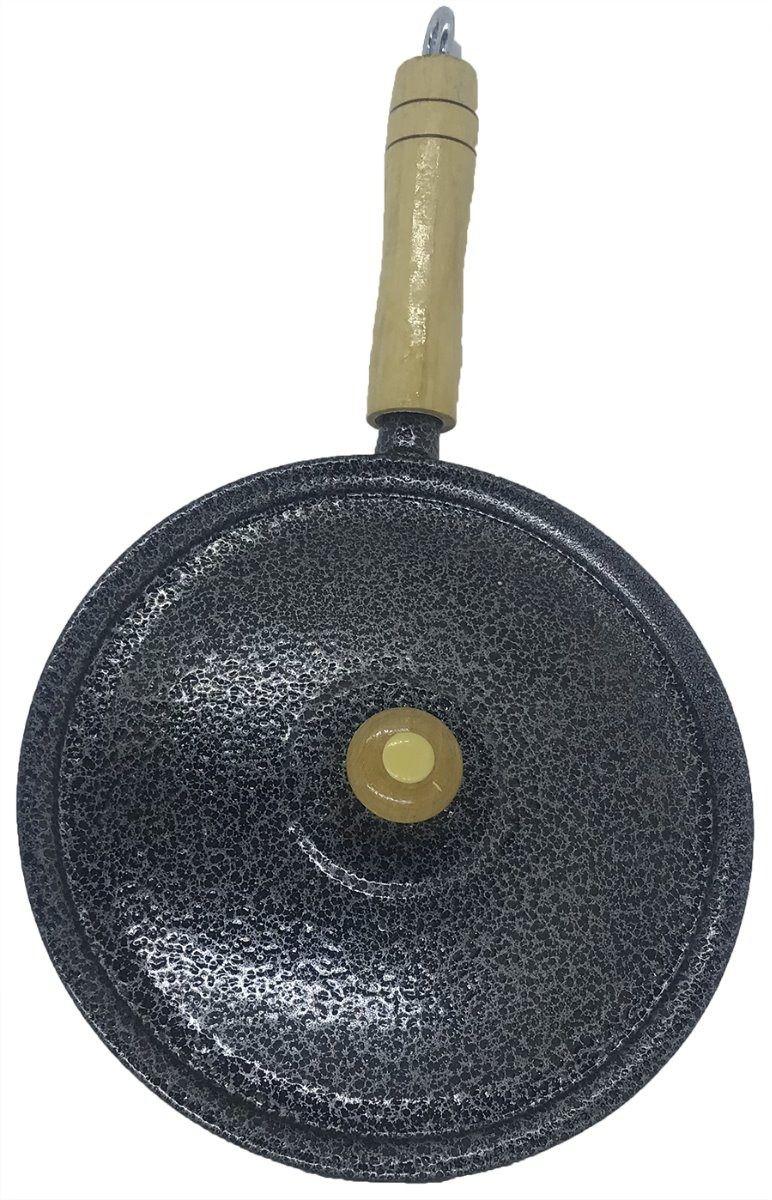 Frigideira Alumínio Preto Cabo e Pomel de Madeira 24 Cm