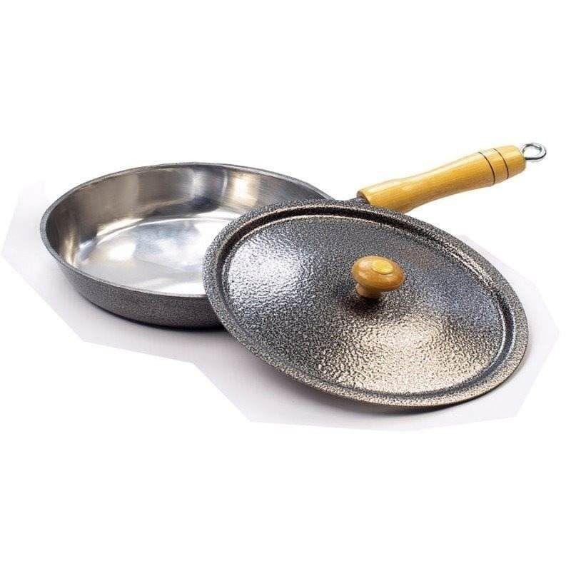 Frigideira Alumínio Preto Cabo e Pomel de Madeira 22 cm