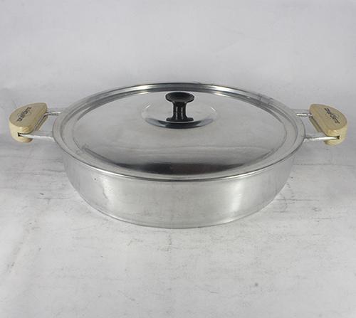 Frigideira Alumínio Polido Alça Meia Lua Pomel Baquelite 30 cm Tampa Prensada