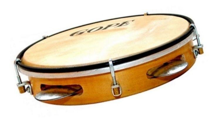 Instrumento Musical Pandeiro Iniciante Madeira 8 polegadas pele animal