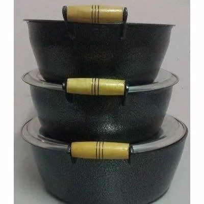 Jogo 3 Panelas Alumínio Batido Craqueada - 30 - 32 - 34 Cm