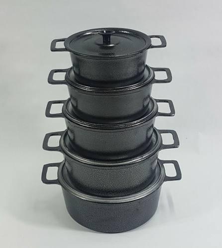 Jogo 5 Panelas Alumínio Craqueada Alça Inteiriça