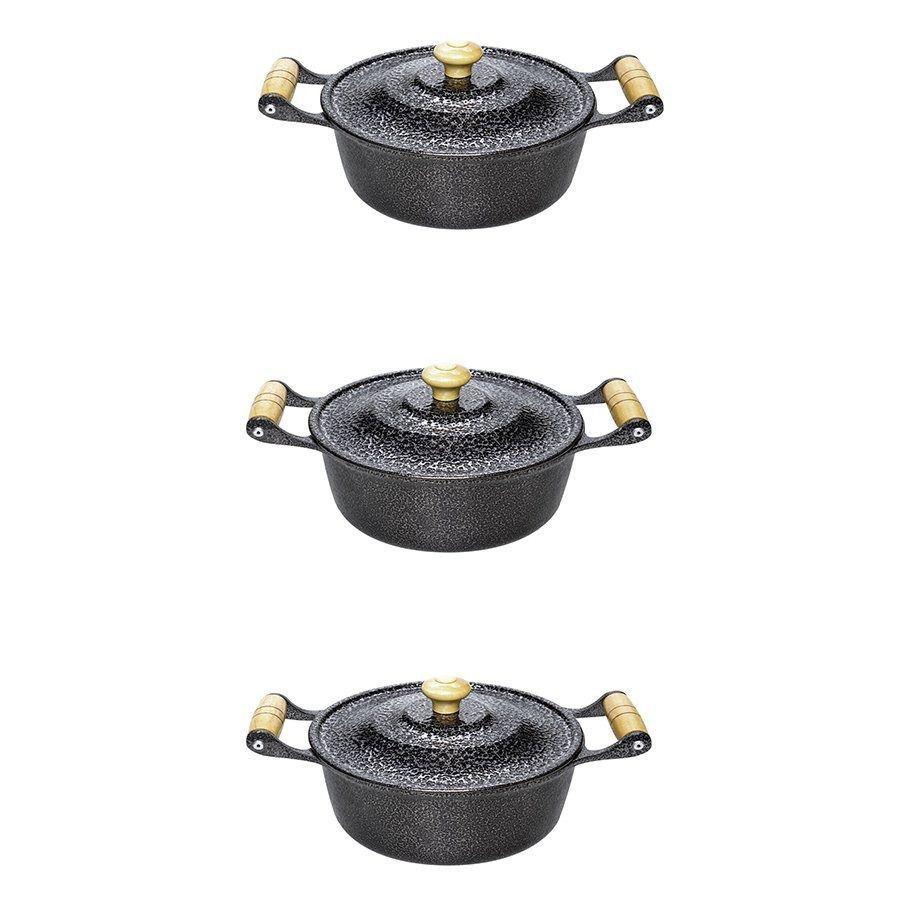 Jogo de Caçarola Aluminio Craqueado 3 pçs