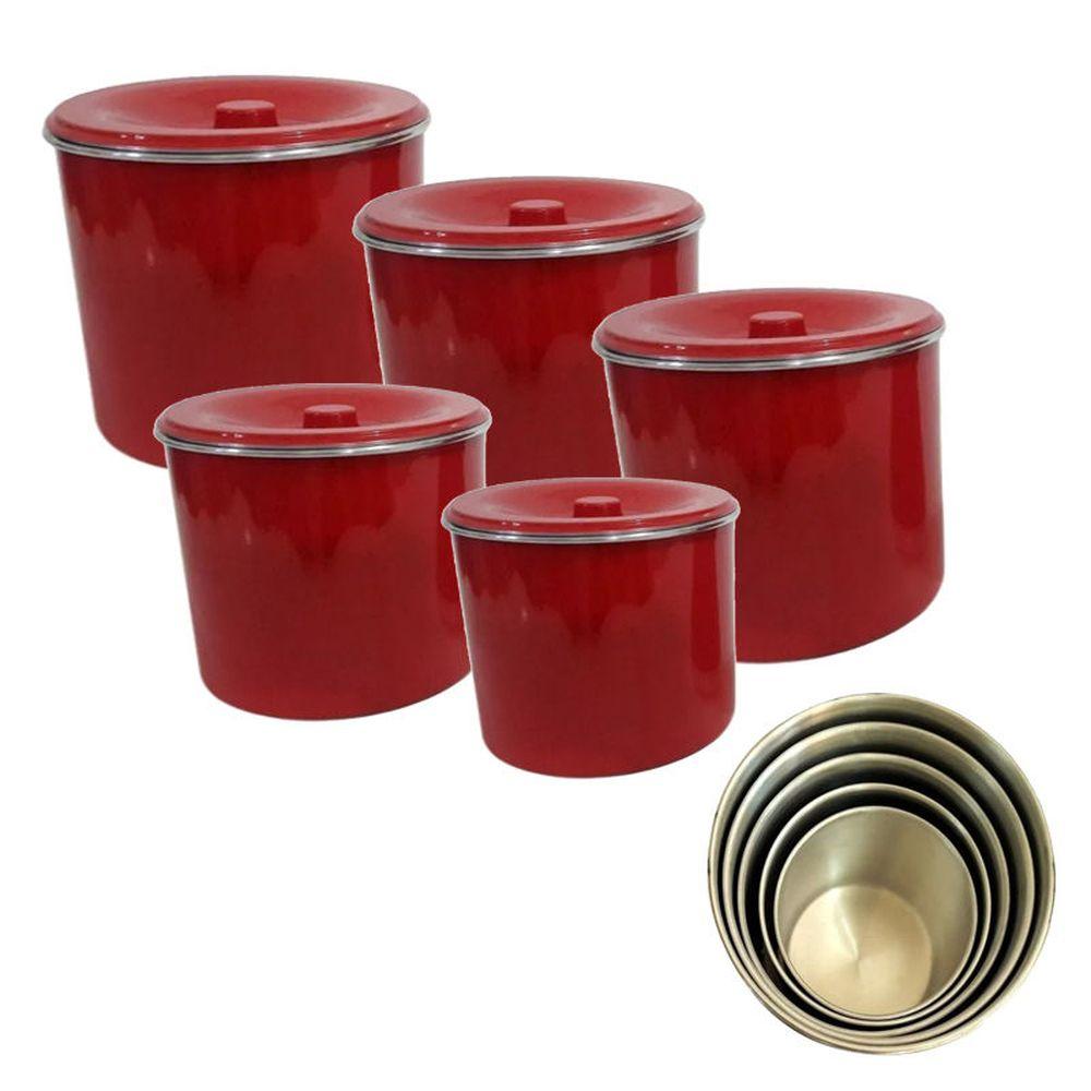 Jogo Latas Alimentos Conjunto Aluminio Vermelho Kit 5 Peças
