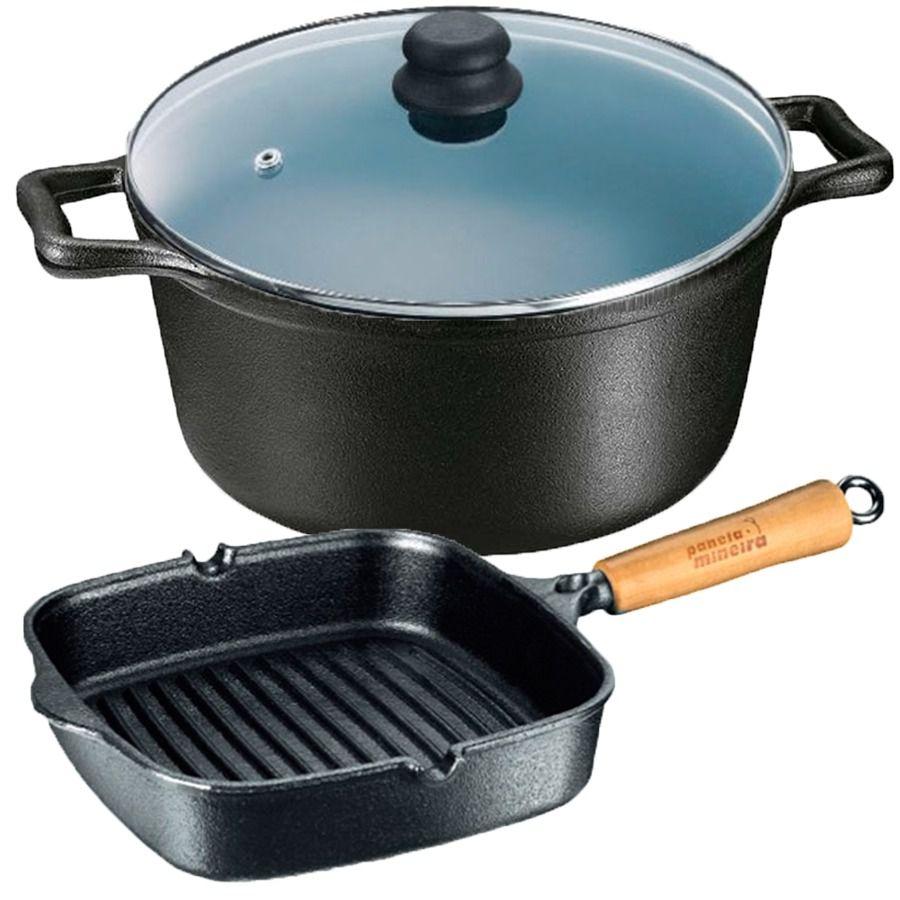 Jogo Panela Cook Grill Mais Caçarola Tampa De Vidro 4 Litros