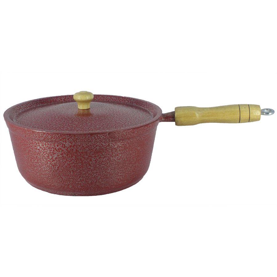 Panela Caçarola Alumínio Vermelho Cabo e Pomel de Madeira 18 cm
