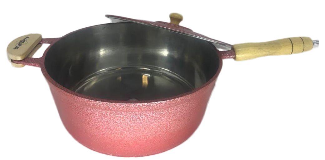 Panela Caçarola Alumínio Vermelho Cabo e Pomel de Madeira 28 cm