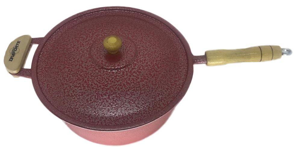 Panela Caçarola Alumínio Vermelho Cabo e Pomel de Madeira 30 cm
