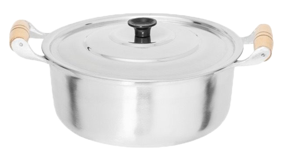Caçarola Panela Alumínio Polido Alça Madeira Pomel Baquelite 6,7 Litros 30 cm