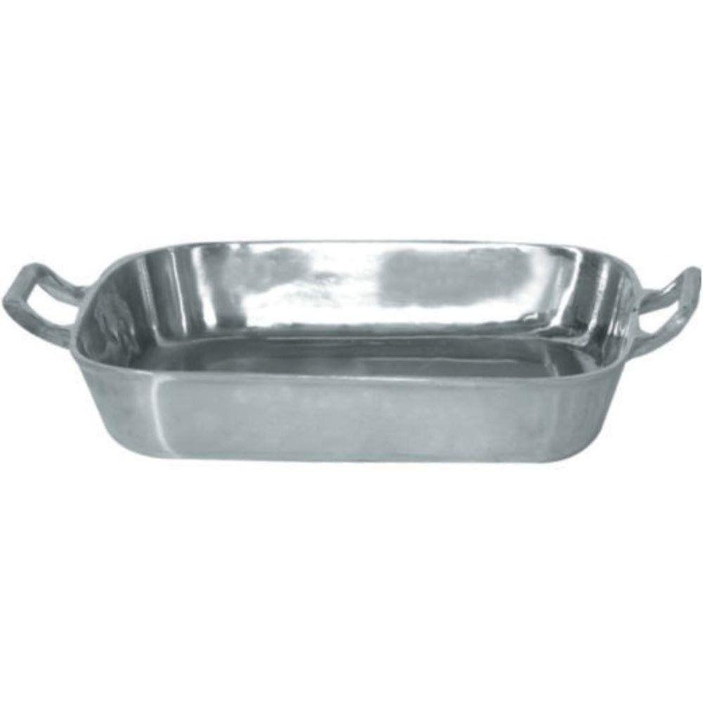 Forma Assadeira Tabuleiro Para Frango 36 cm Aluminio Polido Com Alças