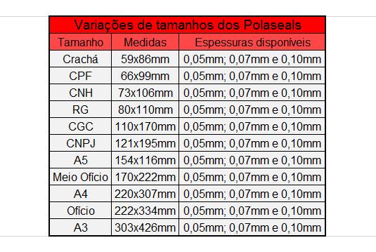 Plástico Pastificação Polaseal CNH 73x106 mm (125 Microns) 0,05mm