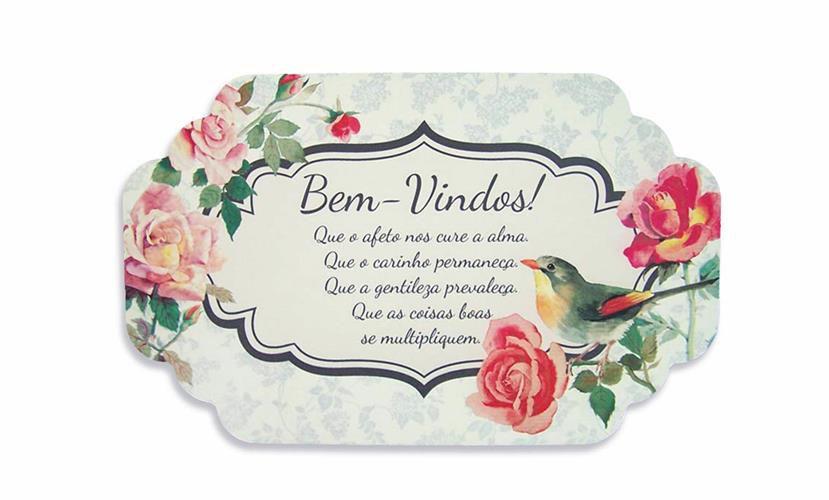 Placa Bem Vindos 29x18 Cm Boutique Das Rosas