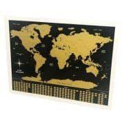 Pôster Mapa Mundi Raspadinha - Preto e Dourado